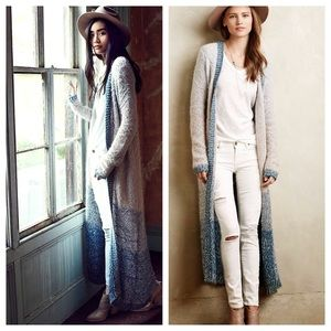 Anthro Moth Ombre Loop Stitch Cardigan Duster